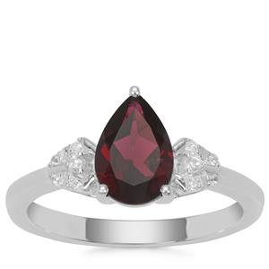 Octavian Garnet Ring with White Zircon in Sterling Silver 1.68cts