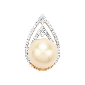 South Sea Cultured Pearl & Diamond 18K Gold Pendant (12mm)
