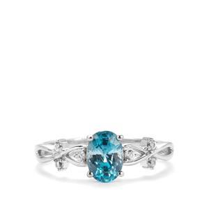Ratanakiri Blue Zircon Ring with White Zircon in 9K White Gold 1.33cts