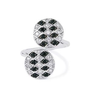 Black Spinel & White Zircon Sterling Silver Ring ATGW 0.79cts