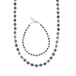 Natural Blue Sapphire Set of Bead Bracelet & Necklace with White Topaz in Sterling Silver 48.96cts