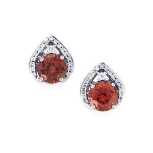 Zanzibar Zircon Earrings with Diamond in 18k White Gold 2.76cts