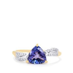 AA Tanzanite & Diamond 18K Gold Tomas Rae Ring MTGW 1.54cts