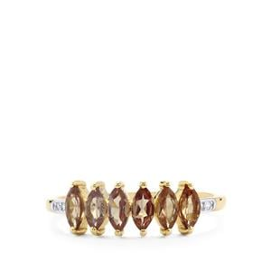 Bekily Colour Change Garnet Ring with Diamond in 9K Gold 1.02cts