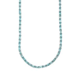 19.58ct Madagascan Blue Apatite Sterling Silver Necklace