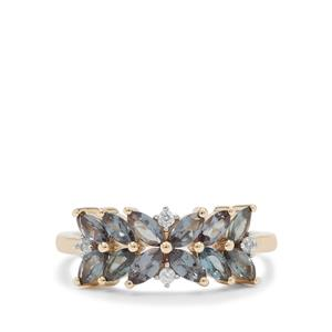 Miova Loko Garnet Ring with White Zircon in 9K Gold 1.35cts