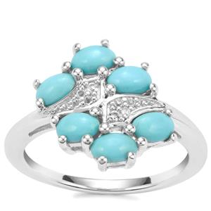 Sleeping Beauty Turquoise Ring with White Topaz in Sterling Silver 1.36cts