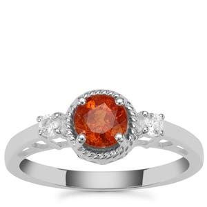 Mandarin Garnet Ring with White Zircon in Sterling Silver 1.31cts