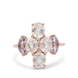Singida Tanzanian Zircon Ring with AA Tanzanite in 9K Rose Gold 5cts