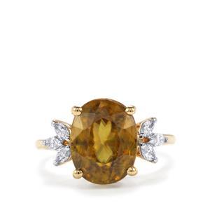 Ambilobe Sphene & Diamond 18K Gold Lorique Ring MTGW 5.93cts