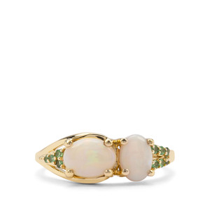 Coober Pedy Opal & Tsavorite Garnet 9K Gold Ring ATGW 1.30cts