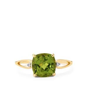 Changbai Peridot Ring with Diamond in 10k Gold 2.27cts