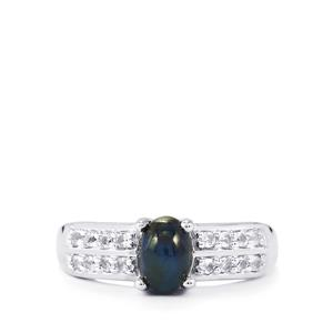 Blue Star Sapphire & White Topaz Sterling Silver Ring ATGW 1.68cts