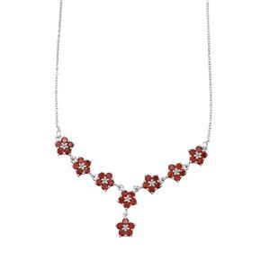Nampula Garnet & White Topaz Sterling Silver Necklace ATGW 6.15cts