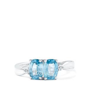 Ratanakiri Blue Zircon & White Topaz Sterling Silver Ring ATGW 2.67cts