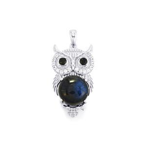 Labradorite, Black Spinel & White Zircon Sterling Silver Pendant ATGW 9.16cts