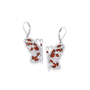 Mozambique Garnet & White Zircon Sterling Silver Papillon Earrings ATGW 3.09cts