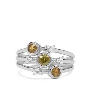 Ambilobe Sphene & White Zircon Sterling Silver Ring ATGW 1cts