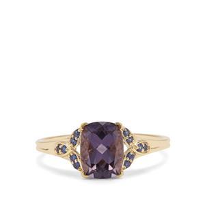 Montezuma Blue Quartz Ring with Thai Sapphire in 9K Gold 1.40cts