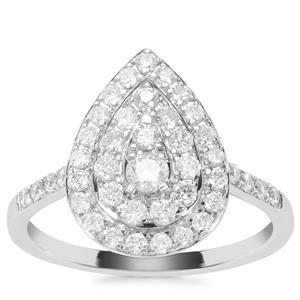 Diamond Ring in 9K White Gold 0.76ct