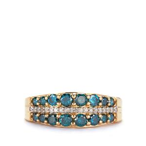 Diamond Ring with Blue Diamond in 9K Gold 1cts