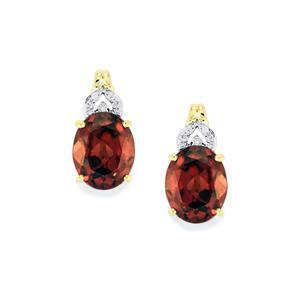 Zanzibar Zircon Earrings with Diamond in 14K Gold 8.64cts