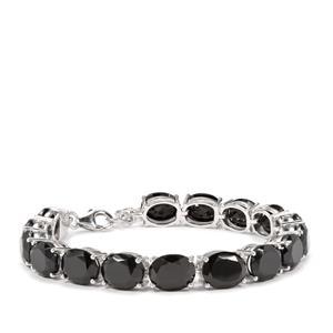 Black Spinel Bracelet in Sterling Silver 36.80cts
