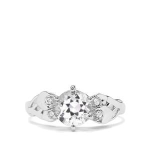 Optic Quartz & White Zircon Sterling Silver Ring ATGW 1.39cts