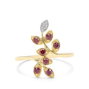 1/4ct Purple Diamond 9K Gold Leaf Ring