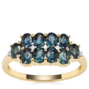 Nigerian Blue Sapphire Ring with Diamond in 9K Gold 1.70cts