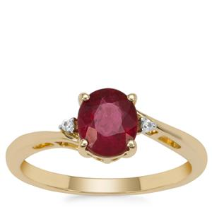 Nigerian Rubellite Ring with White Zircon in 9K Gold 1.05cts