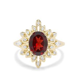 Rajasthan Garnet & White Zircon 9K Gold Ring ATGW 2.20cts