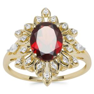 Rajasthan Garnet Ring with White Zircon in 9K Gold 2.20cts