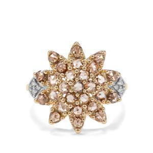 1.08ct Champagne & White Diamond 9K Gold Tomas Rae Ring