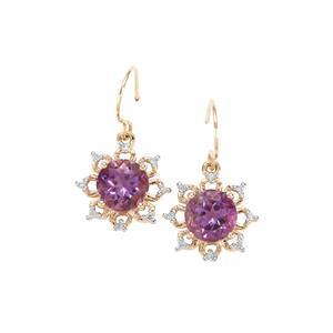 Moroccan Amethyst & Diamond 9K Gold Earrings ATGW 2.47cts