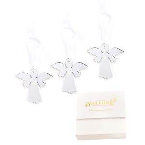 Christmas Collection - Set of 3 Guardian Angel Decorations with Mother of Pearl Heart