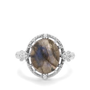Labradorite & White Zircon Sterling Silver Ring ATGW 5.51cts