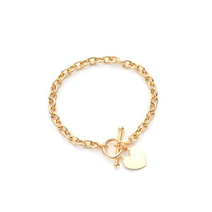 "8"" 9K Gold Altro Oval Belcher Lariat Heart Tag Bracelet 7.50g"