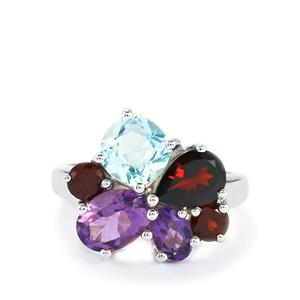 Amethyst, Garnet Ring with Sky Blue Topaz in Sterling Silver 5.25cts