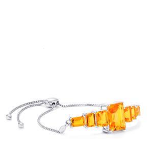Padparadscha Quartz slider Bracelet in Sterling Silver 14.21cts