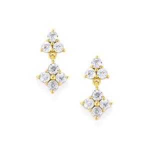 1.47ct Ratanakiri White Zircon 9K Gold Earrings