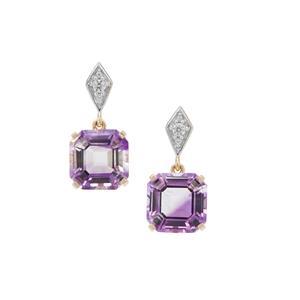 Asscher Cut Boudi Hourglass Amethyst Earrings with White Zircon in 9K Gold 6.30cts