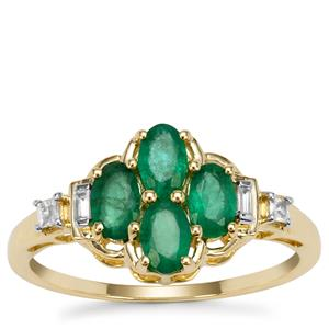 Zambian Emerald Ring with White Zircon in 9K Gold 1.00cts