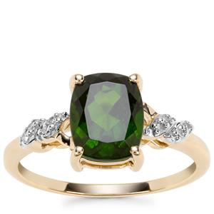 Chrome Diopside Ring with Diamond in 9K Gold 2.19cts