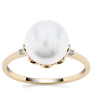 South Sea Cultured Pearl Ring with Diamond in 9K Gold