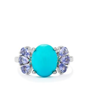 Sleeping Beauty Turquoise Ring with Tanzanite in Sterling Silver 4.00cts
