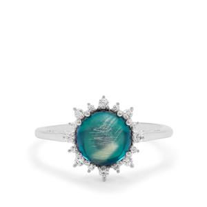 Blue Moonstone & White Zircon Sterling Silver Ring ATGW 2.52cts