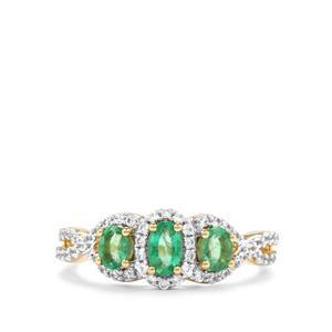 Zambian Emerald & White Zircon 9K Gold Ring ATGW 1cts