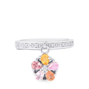 Rainbow Sapphire & White Zircon Sterling Silver Ring ATGW 0.96cts