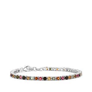 4.94ct Rainbow Tourmaline Sterling Silver Bracelet